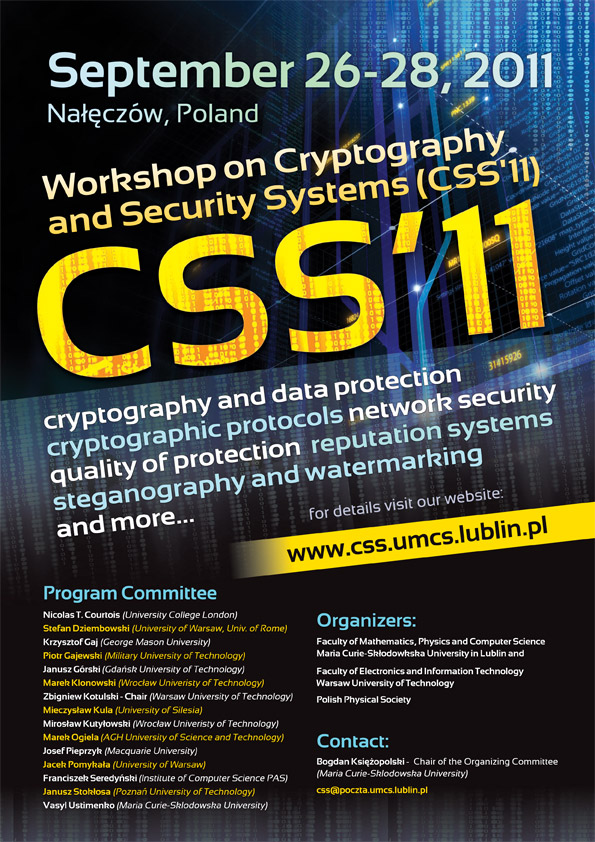 Cryptography and Security Systems 2011 - Poster